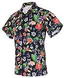 Funny Guy Mugs Men's Hawaiian French Bulldog Button Down Short Sleeve Shirt, Medium
