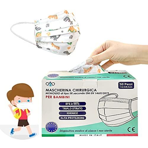 50 Mascherine Chirurgiche Bambini Colorate BFE>=98% Mascherina Monouso Tipo IIR Dispositivo Medico Mascherine Made in ITALY Certificate CE Confezionate Singolarmente Conformi EN 14683:2019