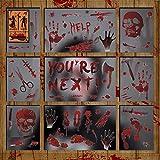 LessMo Halloween Fenster Sticker, 12 Stück Halloween Fenster Aufkleber, Schaurig Blutige...