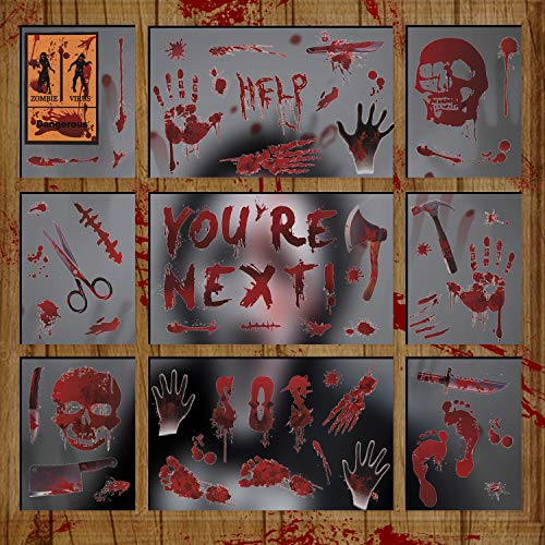 LessMo Halloween Fenster Sticker, 12 Stück Halloween Fenster Aufkleber, Schaurig Blutige Realistischer Hand FußAbdruck Fensterbilder für Halloween Tür Party Haus Spiegel Garten Fenster Deko