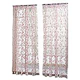 Vosarea Cortinas de Interior con diseño de Flores para salón Dormitorio de Cama balcón 1x 2m (Rosa)