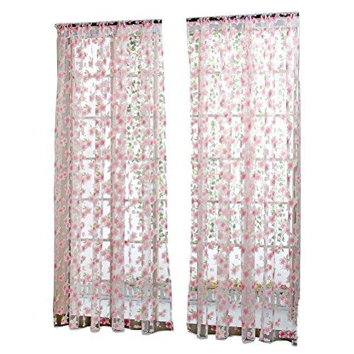 cortinas salon flores rosas