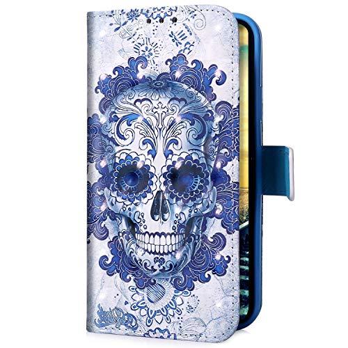 Uposao Kompatibel mit Huawei Mate 30 Lite Handyhülle Glitzer Bling 3D Bunt Leder Hülle Flip Schutzhülle Handytasche Brieftasche Wallet Bookstyle Case Magnet Ständer Kartenfach,Schädel