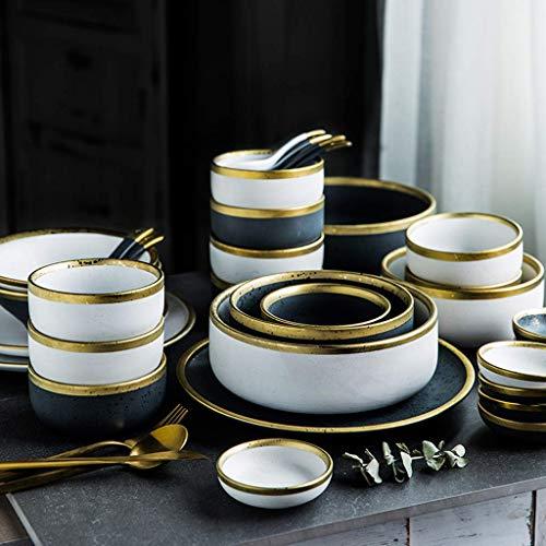 XBR De Cena, Juego de vajilla, Plato de Cena de cerámica de 22 Piezas - Cuenco/Plato/Cuchara |Juego de combinación de Porcelana con Borde Dorado Mate Completo para Restaurante