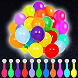 POKONBOY 100 Pack LED Light Up Balloons, Mixed Color Glow in the Dark Party Supplies LED Balloons Neon Party Supplies for Birthday Wedding Festival Decorations (Fillable with Helium or Air)