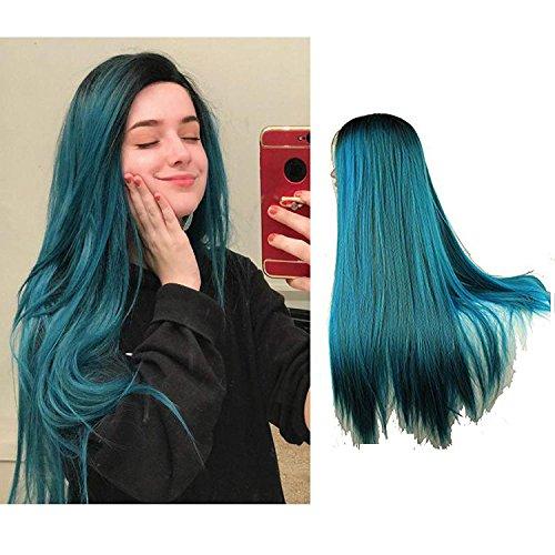Eseewigs lange dunkle Wurzel blau und grün gemischte Farbe Ombre Two Tone Cosplay Party Perücke schwere volle gerade Spitze vorne hitzebeständige synthetische Haar Perücke für Frauen 24Zoll
