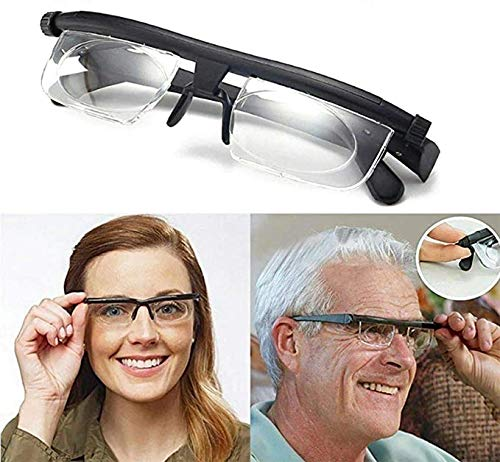 Dial Adjustable Glasses Variable Focus,6D to +3D Diopters Myopia Glasses,Adjustable Reading Glasses Dial Vision As Seen on Tv,for Reading Distance Vision Unisex Myopia Glasses
