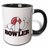 3dRose Bowler Bowling Ball and Pins Sports Design Two Tone Mug, 11 oz, Black/White
