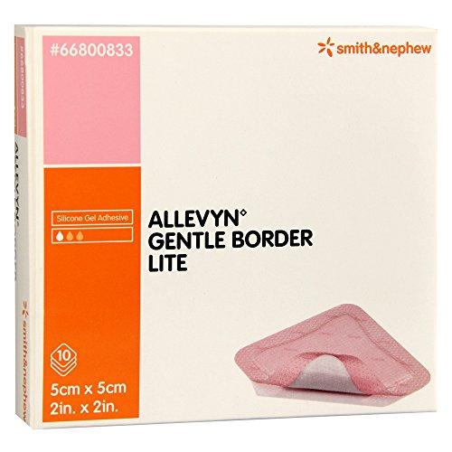 ALLEVYN GENTLE BORDER LITE SILICONE GEL ADHESIVE HYDROCELLULAR 5CM X 5 CM - 10 DRESSINGS