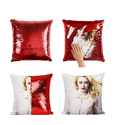 Dakota Fanning Charlotte's Web - Funda de almohada con lentejuelas MRZ3313 con inserto de 40,6 x 40,6 cm, funda de almohada decorotive para niña y él (añadir inserto)
