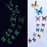 HDMJ 12pcs / Set Mariposa Luminosa Etiqueta de la Pared de Las Mariposas Sala de Estar for la decoración de Bodas Fiesta en casa frigoríficos 3D Pegatinas Fondo de Pantalla (Color : Multicolor)