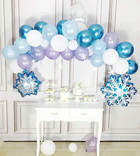 Kubert Frozen Birthday Party Supplies, Pack of Frozen Party Supplies, Snowflake Decorations, Frozen Party Decorations, Frozen Balloons, Snowflake Balloons for Frozen Birthday, Frozen Party