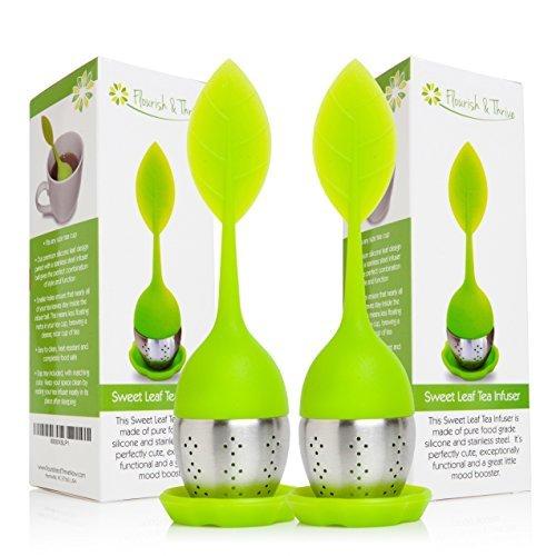 Loose Leaf Herbal Tea Infuser, Strainer Scoop 2-pack, multipack, gourmet gift set - 2 Green