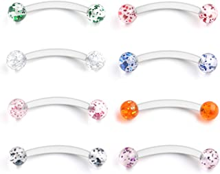 Glitter Bioflex Acrylic Curved Barbell Snake Eyes Tongue Ring Retainer Piercing 14G 8PCS