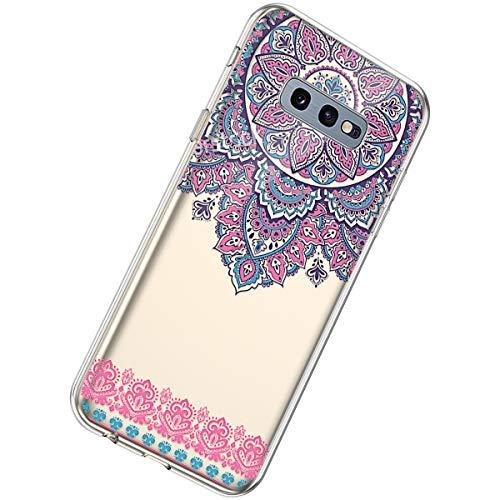 Herbests Kompatibel mit Samsung Galaxy S10e Hülle Transparent Durchsichtig Silikon Schutzhülle Blumen Muster Klar Weich TPU Handytasche Clear Case Stoßfest Bumper Etui,Mandala Henna