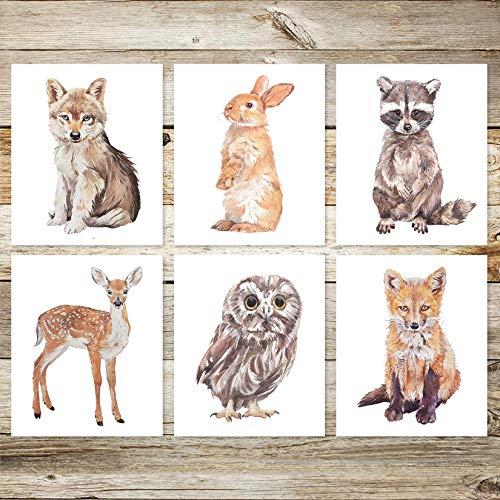 6 Woodland Animals Neutral Nursery 8x10 Watercolor Art Prints