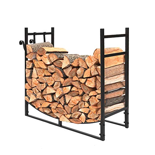 DESIGNSCAPE3D Outdoor Firewood Racks, Fireplace Firewood Storage Stand to Prevent Wood from Rolling, Steel Frame, Black (33.07Lx12.99W)