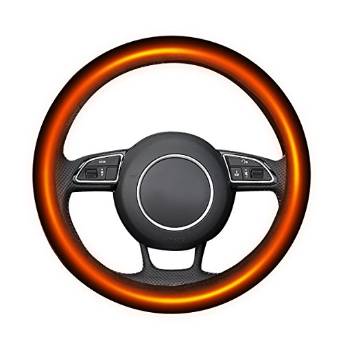"Tvird Heating Steering Wheel Covers 12V Auto Steering Covers Warmer Car Steering Protective Sleeve Suit for Steering Wheels of 14.5""-14.96"" Used in Winter and All Season"