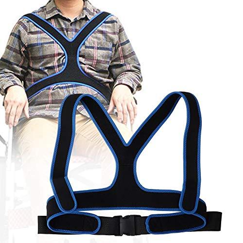 Cinturón de silla de ruedas antideslizante elástico transpirable cinturón de fijación de silla de ruedas correa del arnés para el paciente atado no deslizante hacia adelante(Negro)