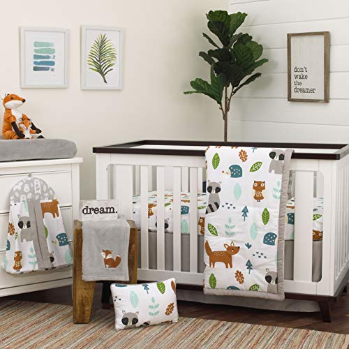 NoJo Dreamer Little Woodland Friends 8 Piece Nursery Crib Bedding Set Grey/Tan/Aqua/White