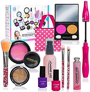 Next Milestones Pretend Glamour Girl 13 Pcs Beauty Fake Makeup Kit Toys with Cosmetic Bag Playset for Little Girl Birthday...