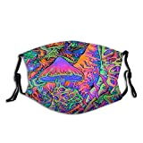 Psychedelic Trippy Mushrooms Face Mask with 2pcs Filters Reusable Washable Fabric Adjustable Bandanas Neck Gaiter Balaclavas for Men Women