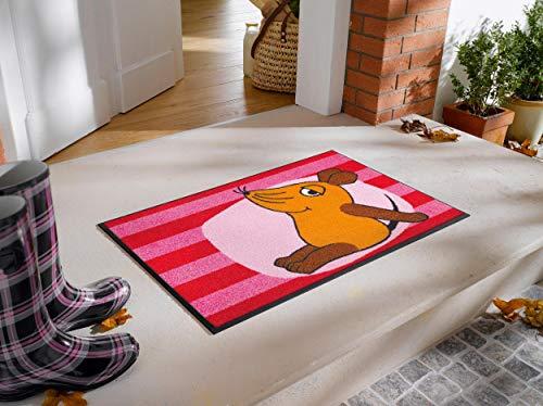 Bavaria Home Style Collection - voetmat deurmat schoonloopmat - De muis - wash+Dry-kleen-tex, wasbaar, rood, antislip, 5 jaar garantie