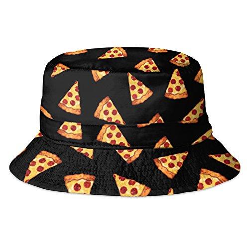 Sombrero de pescador, impreso totalmente, para vacaciones de verano y fiesta, moderno Black Pizza Taille unique