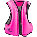 Rrtizan Swim Vest for Adults, Buoyancy Aid Swim Jackets - Portable Inflatable Snorkel Vest for Swimming, Snorkeling, Kayaking, Paddle Boating and Other Low Impact Water Sports Safety(Pink)