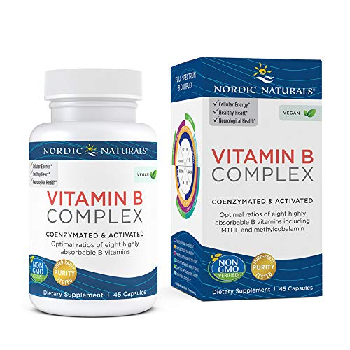 Nordic Naturals Vitamin B Complex - 45 Capsules - Thiamine, Riboflavin, Niacin, Vitamin B6 & B12, Folate, Biotin, Pantothenic Acid - Heart & Brain Health, Energy, Metabolism - Non-GMO - 45 Servings