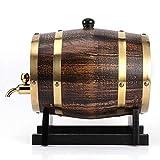 Barril de vino de estilo retro de 3 litros, madera de roble, vino tinto, brandy, barril de whisky casero, dispensador de barril, recipiente con grifo, sin fugas para almacenamiento de vino
