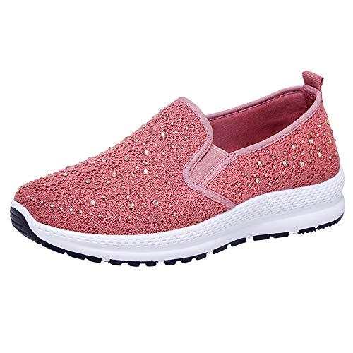 Zapatillas Deporte Mujer, Deportivas Sneaker Running Senderismo Transpirable Verano 2021 Cordones Baratas Blancas Vestir Platform Gimnasio Cuña Plantilla Regular Gimnasia (H17_Pink,EU36)