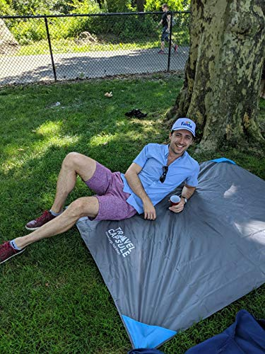 51 gOQtw6zL - Travel Capsule Large Outdoor Pocket Blanket 55″x70″ - Perfect for Hiking, Camping, Outdoor Sporting Events, picnics and More! Stakes and Carabiner Included. Perfect for Quarantine HANGOUTS!