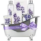 BODY & EARTH Set de regalo de baño para mujer - Set de baño y ducha de 6 piezas Lavender perfumado con gel de ducha, baño de burbujas, sal de baño, el mejor regalo para ella