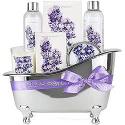 Wellness Set für Frauen - Body & Earth 6pcs Lavendel Geschenkset für Frauen mit Duschgel, Schaumbad und Badesalz, Beste Geschenk für Sie,Geschenk für Mama