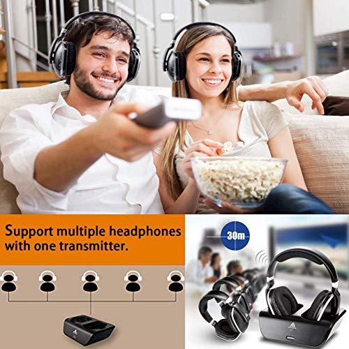 Wireless Headphones for TV with RF Transmitter for Watching and Listening - Digital Over Ear Cordless TV Headphones Rechargeable 20 Hour Battery and Charging Dock also for Hard of Hearing (Black)