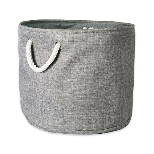 DII 5568 Collapsible Variegated Polyester Storage Bin Small Round Gray