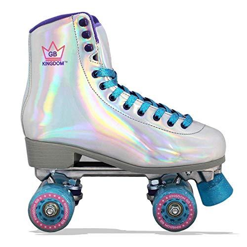 Kingdom GB Impulse Holographic Quad Wheels Girls Womens Roller Skates Silver 4 UK