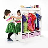 Guidecraft Dress Up Storage – White: Dramatic Play Costume Rack with Mirror and Tray - Kids Armoire, Dresser with Fabric Storage Bins