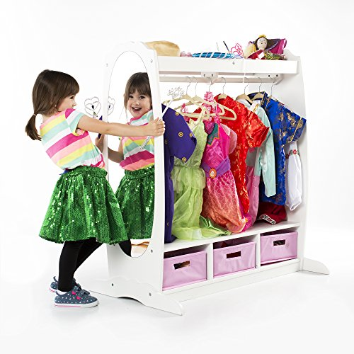Guidecraft Dress Up Storage – White: Dramatic Play Costume Rack with Mirror and Tray for Toddlers - Kids Armoire, Dresser with Fabric Storage Bins