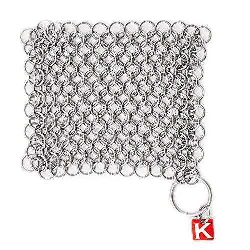 """Knapp Made Original CM Scrubber 4"""" Chainmail Scrubber - Cast Iron Cleaner - For Cast Iron, Stainless Steel, Hard Anodized Cookware and Other Pots & Pans"""