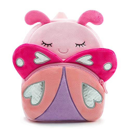 Nice Choice Cute Toddler Backpack Toddler Bag Plush Animal Cartoon Mini Travel Bag for Baby Girl Boy 1-6 Years (Pink Butterfly)