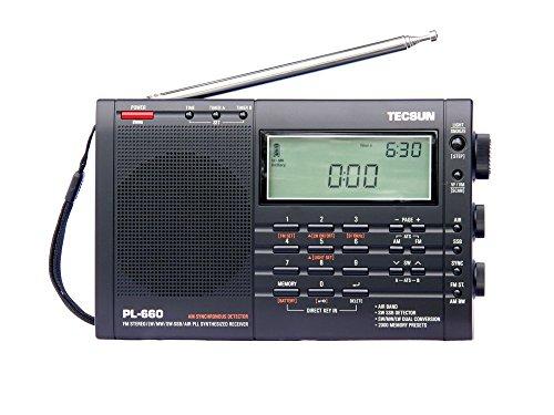 多機能ポータブルラジオ TECSUN PL-660 BCL 短波ラジオ FM/MW/SW/Air 携帯便利 高性能ラジオ (ブラック)