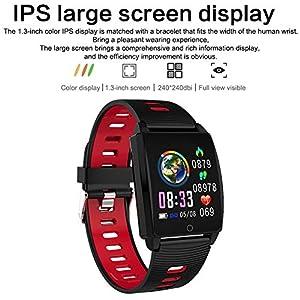 Padgene SmartWatch Reloj Inteligente IP67 Impermeable Bluetooth Pulsera Actividad Deportiva con Pulsómetro Monitor de Sueño, Música, Notificación de Llamada Mensaje para Android e iOS (Rojo)