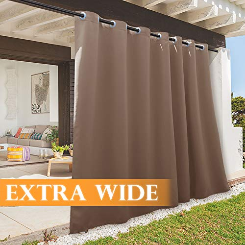 RYB HOME Outdoor Curtain - Sun Blocking Curtains Portable Contemporary Vertical Blind Room Darkening Shade for Garage Window/Patio Door/Pergola, 100 inches x 84 inches, 1 Panel, Mocha