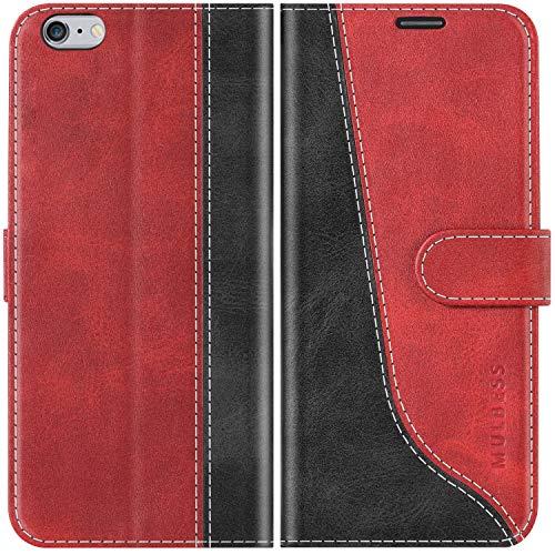 Mulbess Handyhülle für iPhone 6s Plus Hülle, Handy iPhone 6 Plus Hülle, Handy iPhone 6s Plus Hülle, Leder Flip Etui Handytasche Schutzhülle für iPhone 6s Plus Case, Wine Rot