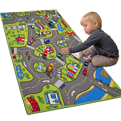 """LargeKids Carpet Playmat Rug 32"""" x 52"""" with Non-Slip Backing, City Life Play Mat for Playing with Car Toy, Game Area for Baby Toddler Kid Child Educational Learn Road Traffic in Bedroom, Classroom"""
