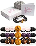 Set of 3 Anxiety Bracelet For Women | Essential Oil Bracelets, Lava Rock Diffuser Bracelets For Women with Rose Quartz, Amethyst, Tiger's Eye, Sandalwood. Gift Box. Gift Card + Extra Satin Bag.
