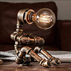Vintage Table Lamp Retro Industrial Iron Water Pipes Robot Table lamp Steampunk Desktop Light(Not Included Bulb) #1