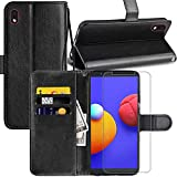 Samsung Galaxy A01 Core ,Samsung Galaxy M01 Core Case, Samsung Galaxy A01 Core Wallet Case, with Screen Protector,PU Leather Wrist Strap Card Slots Soft TPU Shockproof Protective Flip Cover Case,Black